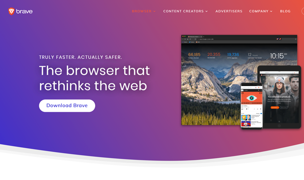 Brave browser homepage