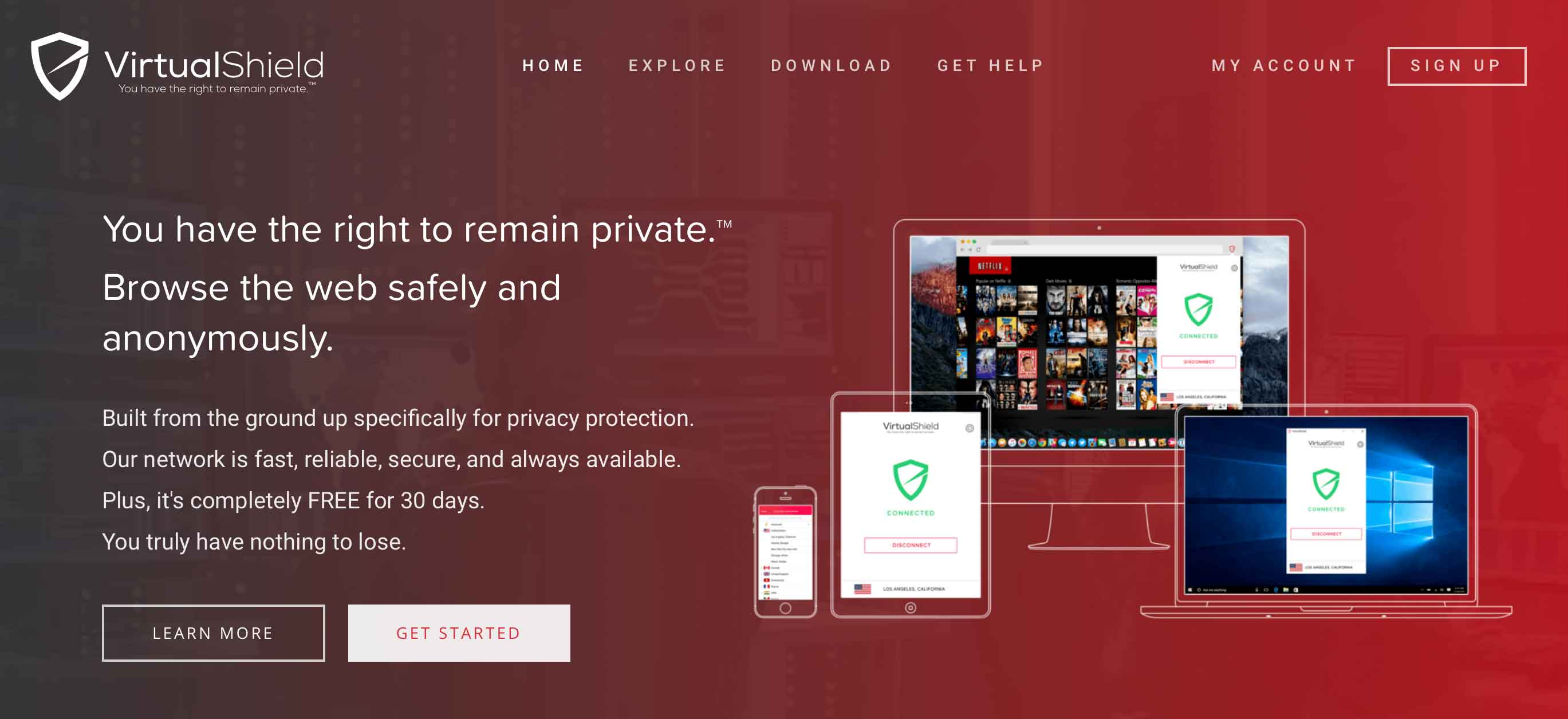 Virtual shield homepage screenshot